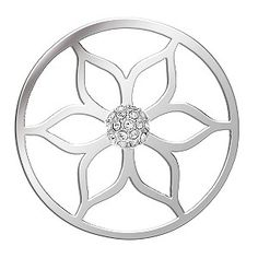 Ernest Jones - Lucet Mundi silver tone lotus crystal coin - small