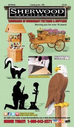 Thousands of Woodcraft Patterns and Supplies. Call for your FREE Catalog today! 1-800 843-2571 or view online here... http://sherwoodonline.com/catalog169online.asp