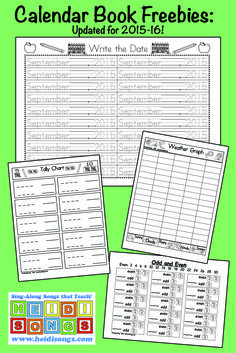 Calendar Book Freebies & Updates for the 2015-16 School Year!  Lots of great free pages for your Kindergarten or first graders' calendar interactive notebooks!