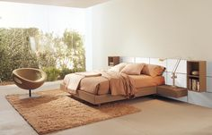 PLAN - Bed in walnut finishing and white lacquered, boiserie and modular accessories  Sommier available with containing element. http://www.fimarmobili.com
