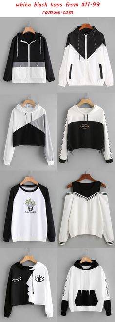 color block - white & black tops from romwe.com
