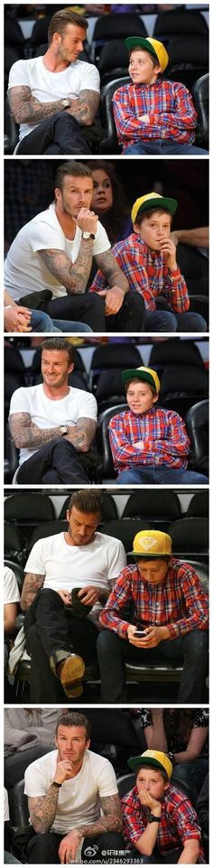 David Beckham with his son Brooklyn were watching basketball in LA.