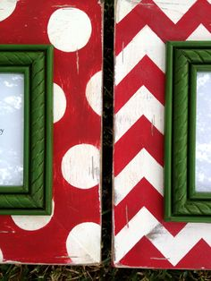 set of 2 distressed christmas frames--chevron and polka dot table top or wall mount Christmas Frames, Christmas Signs, Christmas Photos, Christmas Time, Christmas Decorations, Holiday Decor, Christmas Ideas, Merry Christmas, Picture On Wood