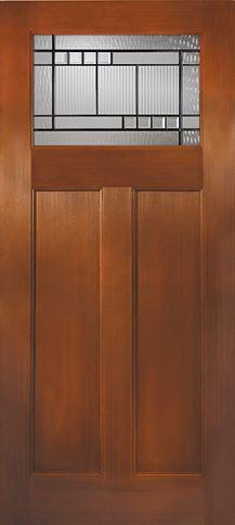 Fiberglass Craftsman 1 Lite 2 Panel Bottom Kensington Glass- Fir Grain