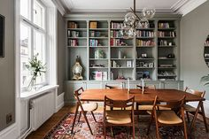 Just look at this magnificent olive shade of the walls of a spacious apartment in Stockholm - the color fits perfectly into the modern classic design of ✌Pufikhomes - source of home inspiration Best Interior, Interior Design, Next At Home, Dining Room Design, Beautiful Interiors, Modern Classic, Scandinavian Design, Living Spaces, Bookcase