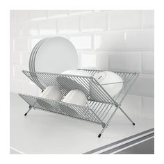 IKEA - KVOT, Dish drainer, galvanized, Can be folded up to save space. Ikea Kitchen, Kitchen Towels, Kitchen Corner, Kitchen Roll Holder, Dish Drying Mat, Drying Racks, Recycling Facility, Minimalist Home, Recycling