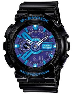 Adding strength beneath a detailed purple and blue display, this solid XL G-Shock is equipped with an anti-magnetic, shock and water resistant structure. - Shock Resistant - Magnetic Resistant - 200 M