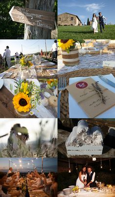 Country wedding in Tuscany, Italy. Wood signs, white blankets for guests in wood boxes, table set up with burlap & lace runner and decoration with mason jars with bouquets of wildflowers & sunflowers and candles, menu with twine & lavender sprig, fairy lights