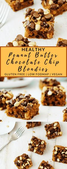 These super easy, healthy peanut butter chocolate chip blondies are going to be your new favorite healthy snack! They are creamy, chewy, and are made in only one bowl. They're also vegan, gluten free, low fodmap, and low in sugar! Bake up a batch today!