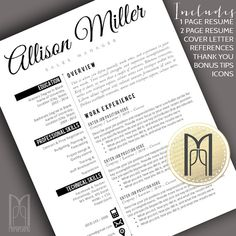 resume template and cover letter template professional creative modern resume template word mac pc diy 4 pk cv template ac template