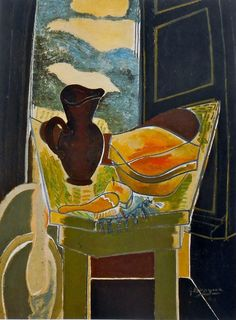 The Black Pitcher by Georges Braque  just love that inky blue framing the still life