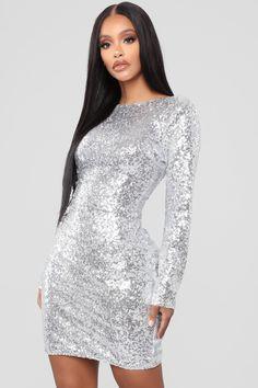 Movie Magic Sequin Mini Dress - Silver 9fa1a44de49e