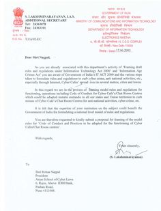 Letter of appreciation from Ministry of Communications and Information Technology, Government of India