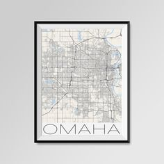 Omaha Map Print - Minimalist City Map Art of Omaha Poster - Wall Art Gift - COLORS - white, blue, red, yellow, violet Omaha map, Omaha print, Omaha poster, Omaha map art, Omaha gift  More styles - Omaha - maps on the link below https://www.etsy.com/shop/PFposters?search_query=Omaha