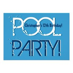 Kid's 12th Birthday Pool Party Blue White Template Invitations
