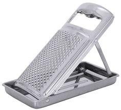 mit Auffangbehälter, aus Edelstahl 18/0, hochglänzend, mit ergonomischem Griff, zusammenklappbar, auch für Zitrusschalen geeignet Länge: 20 cm, Breite: 10,5 cm, Höhe: 15 cm