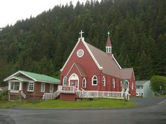 St Peters Episcopal Church in Seward, Alaska Alaska Tours, Seward Alaska, Alaska The Last Frontier, Old Churches, Episcopal Church, Christian Church, Life Is Beautiful, Red Doors, Around The Worlds