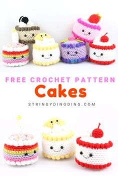Crocheting 90458 Crochet lots of cute cakes with this free crochet pattern! There are plenty of cute cake toppings to choose from. Crochet Cake, Crochet Diy, Crochet Motifs, Crochet Amigurumi Free Patterns, Crochet Food, Crochet Blanket Patterns, Crochet Crafts, Crochet Dolls, Crochet Stitches