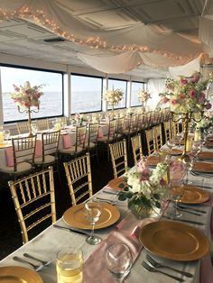 Romantic reception out at sea on the SOLARIS yacht planned by SunQuest Beach Weddings, including flowers, decor, catering and more.