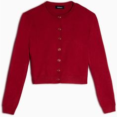 Max&Co. Round-neck slim-fit cardigan ($105) ❤ liked on Polyvore featuring tops, cardigans, red, cardigan top, long sleeve stretch top, rayon cardigan, rayon tops and red top