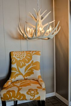 Medium white Faux Antler Chandelier by TheShabbyAntler on Etsy  ... Cute for a woodland themed nursery
