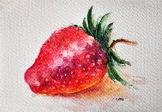 ORIGINAL Watercolor Painting Strawberry Still by ArtCornerShop