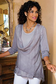 Textural contrasts are fabulously on-trend, as in this lusciously soft, uniquely dyed jersey knit Silk Angelique Top, designed with a crinkled silk chiffon overlay.