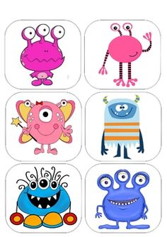 Images, étiquettes et petits monstres - Maitresse Myriam Cute Monsters Drawings, Cartoon Monsters, Little Monsters, Monster Sketch, Monster Drawing, Felt Monster, Monster Party, Manualidades Halloween, Rock Painting Designs