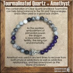 CHALLENGES: Tourmalinated Quartz + Amethyst + Dragon Head Yoga Mala Bead Bracelet - Karma Arm  - 2