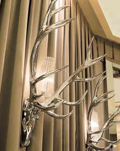 Luxe Italian Designer Stag Antler Wall Lamps, So Glamorous, Sharing Hollywood Luxury Lifestyle Home Decor Inspirations & Gift Ideas Courtesy Of InStyle-Decor.com Beverly Hills Enjoy & Happy