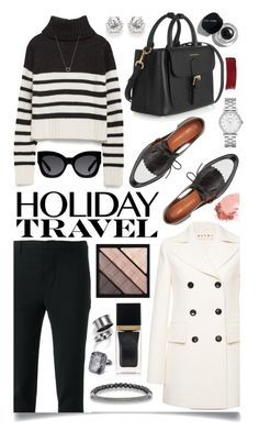 """""""Travel in Style, Holiday Edition"""" by ittie-kittie ❤ liked on Polyvore featuring Marc by Marc Jacobs, Marni, Scanlan Theodore, Zara, Burberry, Bobbi Brown Cosmetics, Karen Walker, Tom Ford, Thomas Sabo and Ringly"""