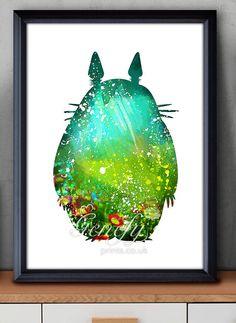 Mi vecino Totoro Studio Ghibli acuarela Poster Print - acuarela pintura - acuarela arte - decoración para el hogar - decoración - decoración de cuarto de niños a los niños