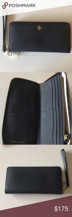 Tory Burch Tory Burch full size zipper around wallet. Comes with a detachable wristlets. Old and navy blue. Interior has 16 credit card slots., One inner zip pockets one larger slot for bills and receipts andPaper etc. storage. Very simple design. Size is 8 1/2 inches wide by 4 1/2 inches. Tory Burch Bags Wallets