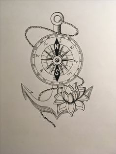 Anchor and Compass ⚓️ #drawing #art #tattoo #anchor #compass #black&white