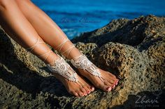 Light Beige Crochet Barefoot Sandals Nude shoes Foot by ZHAVI