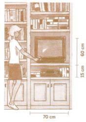 Medidas das prateleiras e do televisor