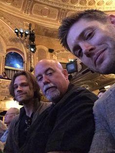 Jensen Ackles @JensenAckles  Three stooges at the theater.  @jarpad looks nervous.  @bodyguard4JandJ