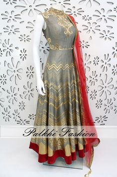 PalkhiFashion Exclusive Full Flair Grey Outfit with Outstanding Red Contrast Dupatta