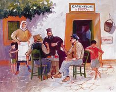 Kafenio traditional coffee place The Wonderful Country, Greece Painting, Coffee Around The World, Greek Culture, Modern Pictures, Greek Art, Greeks, Greek Islands, Van Gogh