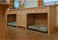 Probably not enough room for this, but something to think about...    Dog crates can take up so much floor space! Building space for the crates into kitchen cabinetry keeps them conveniently out of the walking path, and keeps pup close to family activity.