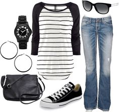 super Casual and retro black and white with Striped baseball tee, and converse low tops