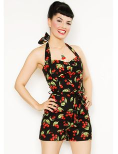 Bathing suit - Cherry Playsuit - Rockabilly Clothing