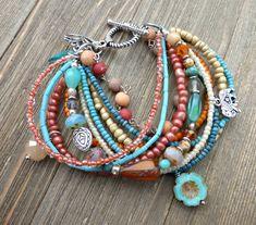 Beachy. Czech glass, glass seed beads and silver metal jewelry. #MetalJewelry