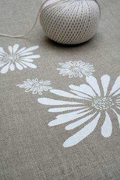 Linen Tea Towel  White Flowers Natural Flax Hand by Amy of PonyAndPoppy
