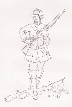 Light Infantry SYW Seven Years' War, Coloring Book Pages, Ranger, Illustrations, Indian, French, Lights, Drawings, Art