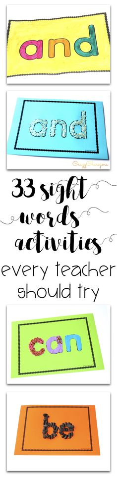 33 sight words activities every teacher should try - freebies included! sight words activities, printables, games and ideas for preschool, kindergarten and first grade.