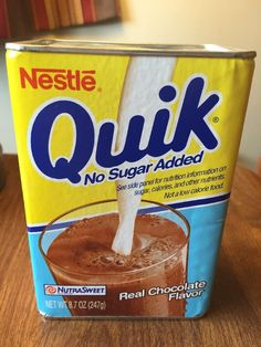 Nestle Quik Vintage Cardboard Tin 8.7 Oz Container No Sugar Added Nutrasweet…