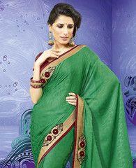 #Green colour jacquard crepe material #saree #sari. Simple yet elegant for the occasion of engagement.