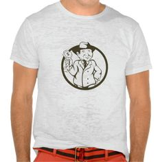 Businessman Fedora Hat Bank Notes Circle Cartoon T-Shirt. Illustration of a businessman wearing fedora hat clutching bank notes in one hand and the the other hand on hips viewed from the front set inside circle done in cartoon style. #Illustration #BusinessmanFedoraHatBankNotes