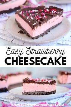 Try our super easy strawberry cheesecake recipe today! Our team has come up with the best no bake strawberry cheesecake. This easy dessert will be sure to please your guests. This is the perfect. Dessert Simple, Baked Strawberries, Chocolate Covered Strawberries, Elegante Desserts, Easy No Bake Cheesecake, Strawberry Cheesecake Recipes, Strawberry White Chocolate Cheesecake, Easy Strawberry Desserts, Healthy Cheesecake